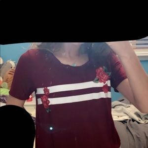 HOLLISTER  MAROON ROSE STRIPED SEMI CROP TOP